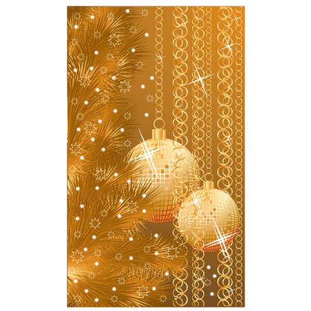 golden frames: Golden elegant christmas banner with balls, vector illustration