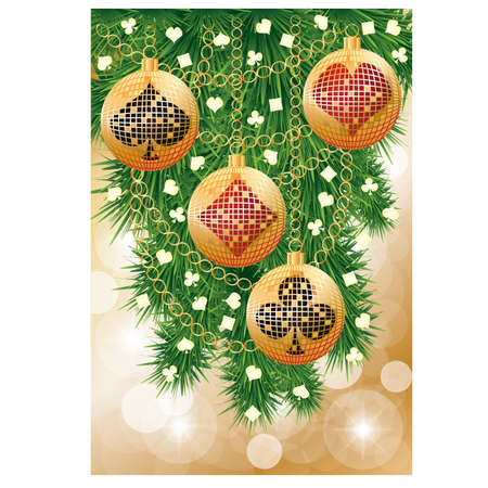 Casino  banner with poker christmas balls, vector illustration Vector