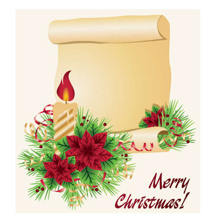 Christmas background with candle and scroll, vector illustration Vector