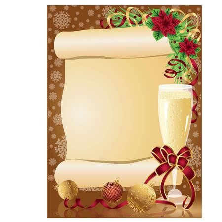 christmas dinner: Christmas card with scroll, vector  Illustration