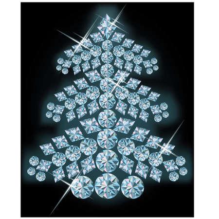 diamond jewelry: Diamante albero di natale. illustrazione vettoriale Vettoriali
