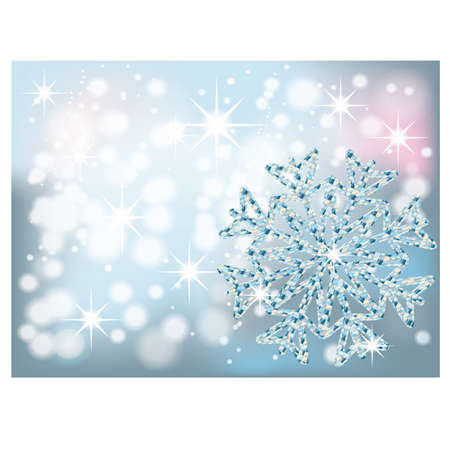 Winter card with diamond snowflake, vector illustration Vector