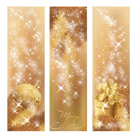 vertical: Winter gouden banners, vector Stock Illustratie