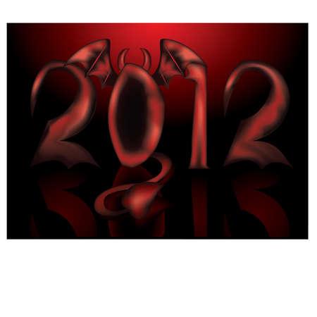infernal: Devil 2012 new year, vector illustration Illustration