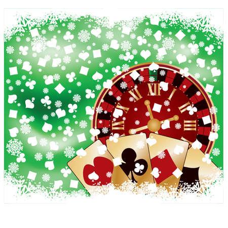 Casino Christmas card, vector illustration Stock Vector - 11437787