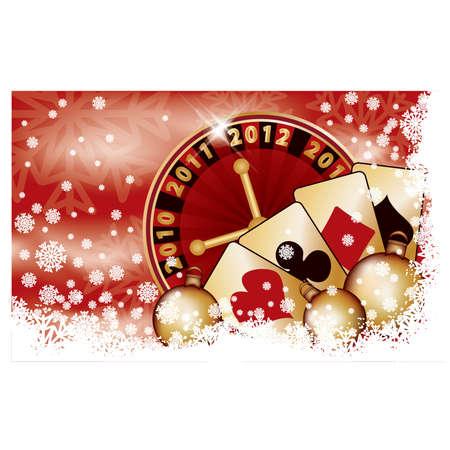 Casino Christmas banner, vector illustration Vector
