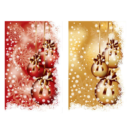Two Christmas banners with balls, vector illustration Vector