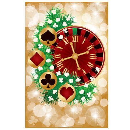 Casino Christmas greeting card, vector illustration Vector