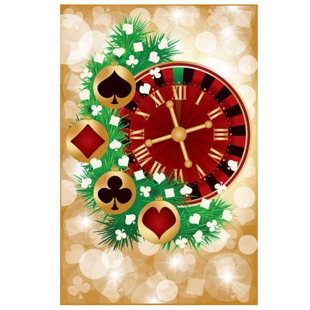 Casino Christmas greeting card, vector illustration Vector