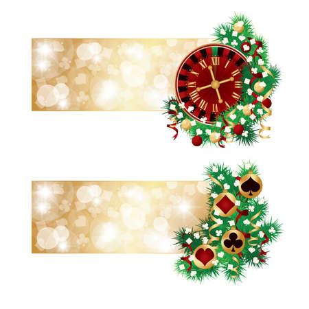 christmas time: Two casino christmas banners, vector illustration