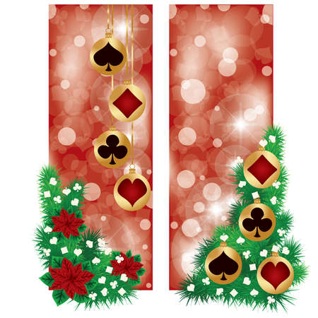 Two Casino Christmas banners, vector illustration Vector