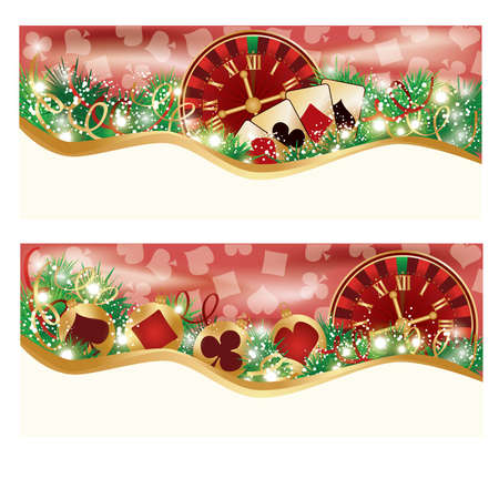 o'clock: Casino Christmas banners, vector illustration