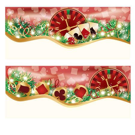 Casino de Navidad pancartas, ilustraci�n vectorial Vectores