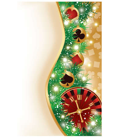 Casino Christmas banner with poker elements, vector illustration