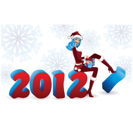 carrying box: New 2012 year and Santa girl, vector illustration Illustration