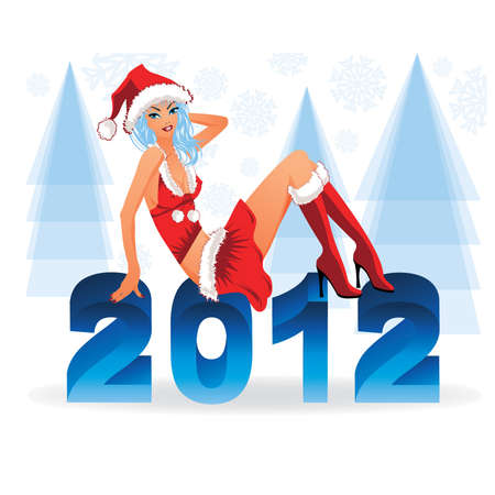 sexy santa: New 2012 year with sexy santa girl, vector illustration Illustration
