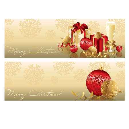 Golden red christmas banners, vector illustration Vector