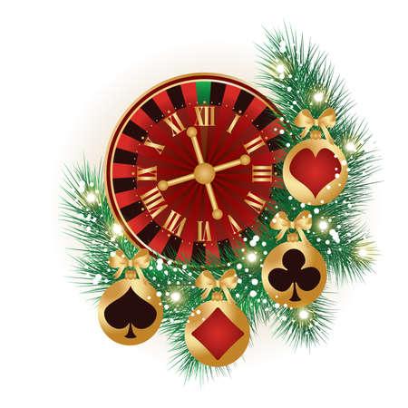 ruleta de casino: Casino Tarjeta de Navidad, vector Vectores