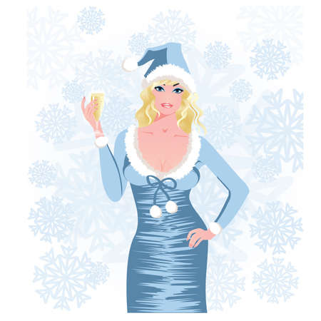 Santa girl with champagne, vector illustration Vector