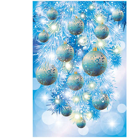 Winter card with blue christmas balls, vector illustration Vector