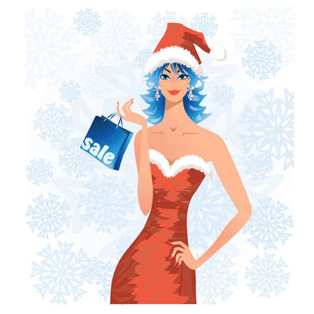 Christmas sale, woman in santa costume holding a shopping bag, vector illustration.