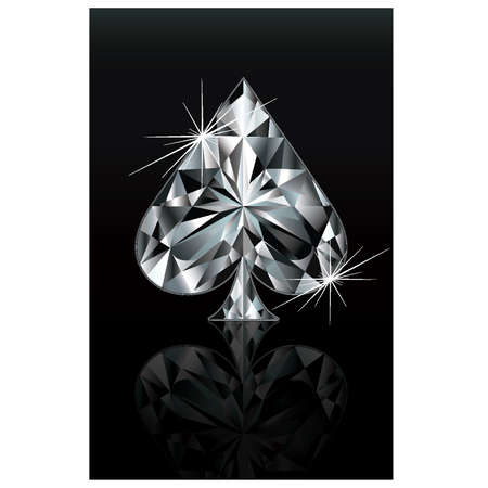 ace of diamonds: Diamond poker card sign spade, vector