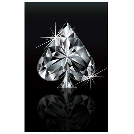 ace of spades: Diamond poker card sign spade, vector