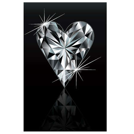 gambler: Diamond poker card sign heart, vector