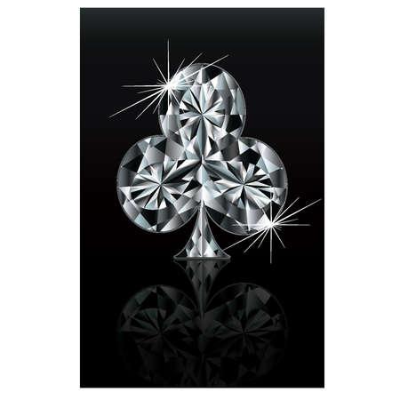 Diamond poker card sign club, vector Vector