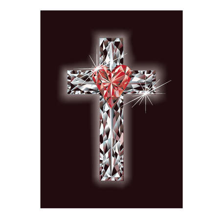 altar: Diamond cross with ruby heart, vector illustration