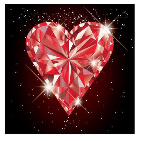 Ruby hart, vector illustratie Stock Illustratie
