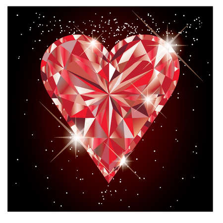 ruby gemstone: Ruby heart, vector illustration