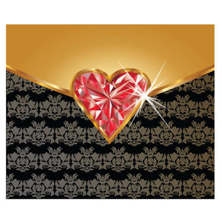 Greeting love card with ruby heart, vector illustration Vector