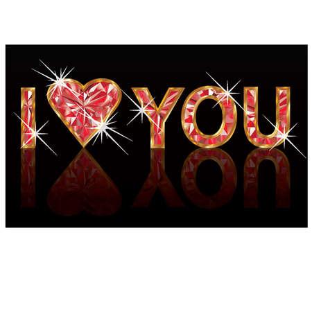 coeur diamant: Je t'aime, diamants rubis bannière. illustration vectorielle