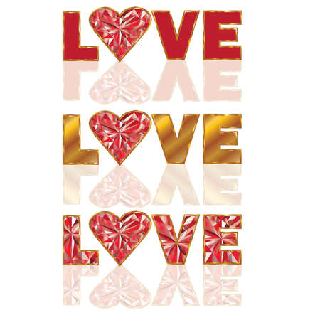 Set ruby love banners. vector illustration Vector