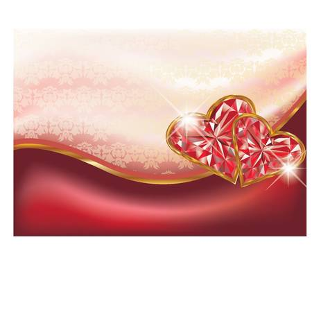 Two ruby hearts, vector illustration Vector