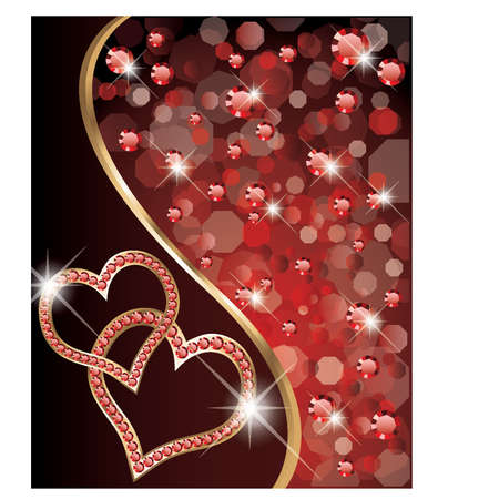 fancy border: Dos corazones el amor bandera, ilustraci�n vectorial