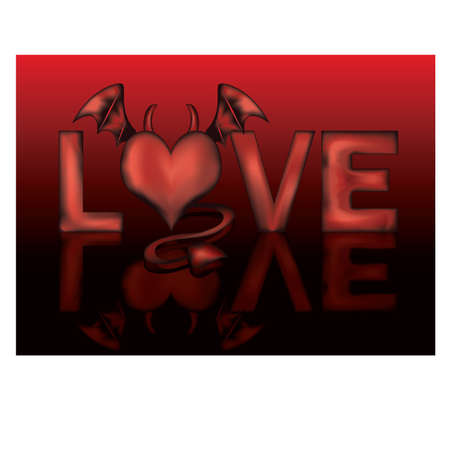 infernal: Bad love with devil heart, vector illustration Illustration