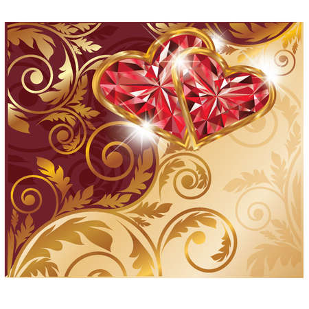 ruby gemstone: Love card with two ruby hearts and golden pattern, vector illustration Illustration