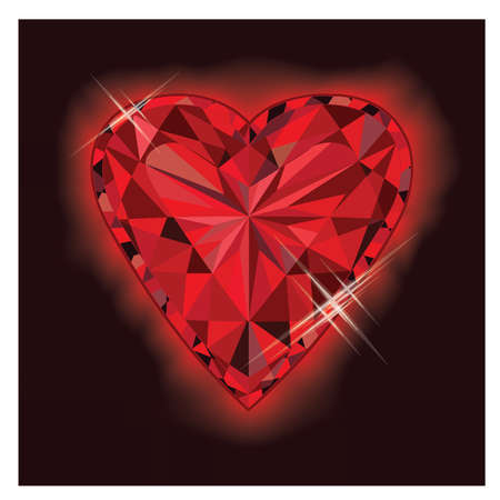 ruby: Ruby heart, vector illustration