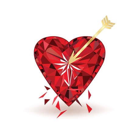 pierced: Ruby Heart pierced with arrow, vector illustration