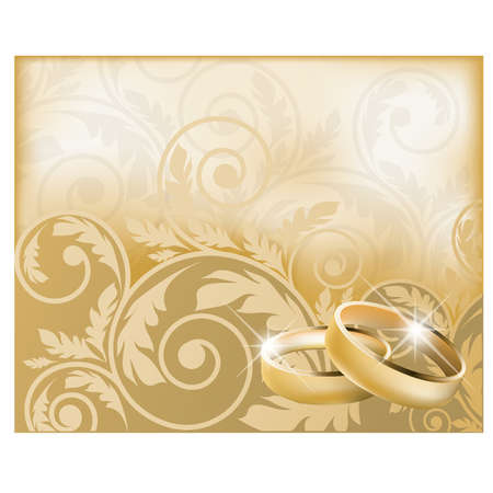 Tarjeta de boda con anillos de oro, ilustraci�n vectorial Vectores