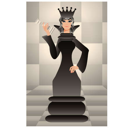 art piece: Chess black queen Illustration