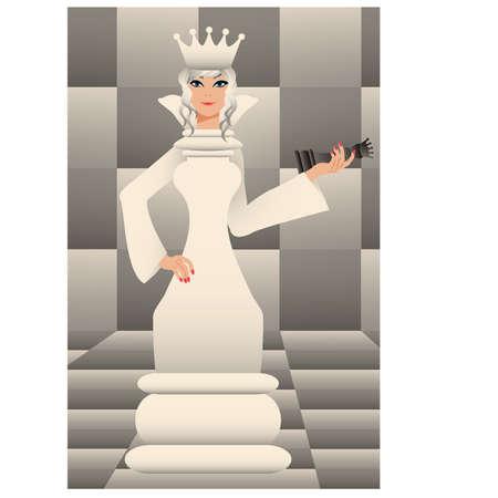 Chess white queen Vector