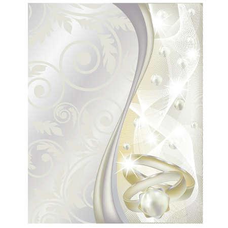 bodas de plata: Boda bandera con dos anillos, ilustración vectorial