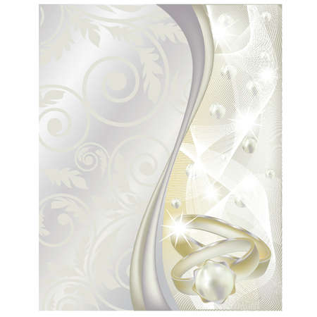 silver ring: Wedding banner with two rings, vector illustration