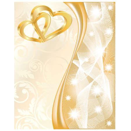 boda de oro Tarjeta de boda con dos corazones de oro, ilustración vectorial
