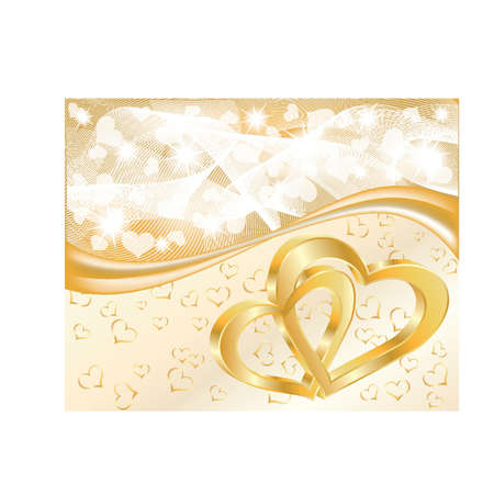Beautiful Wedding card with two hearts, vector illustration Vector