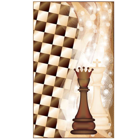 Chess background, king and queen. vector illustration Vector