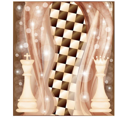 chessboard: Chess card with king and queen, vector illustration
